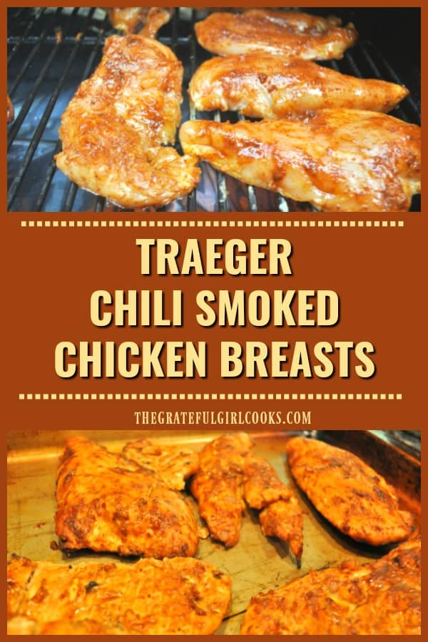 Cook delicious chili smoked chicken breasts on a Traeger or pellet grill. Chicken is basted w/ a simple seasoning, then smoked and grilled to finish!