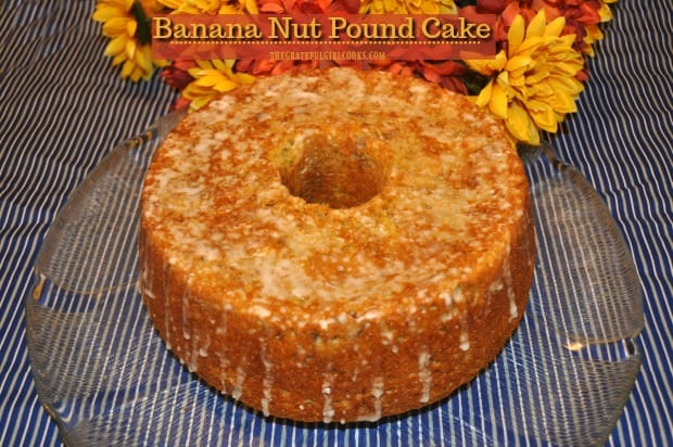 Ten minutes prep time is all you need to make this simple, scrumptious Banana Nut Pound Cake, drizzled with a simple glaze. Easy recipe serves 12!
