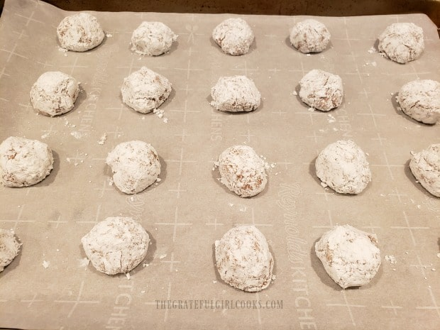 The cinnamon spice crinkle cookies are ready to bake.