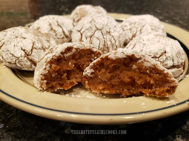 Here is a close up of the inside of one of the cinnamon spice crinkle cookies.