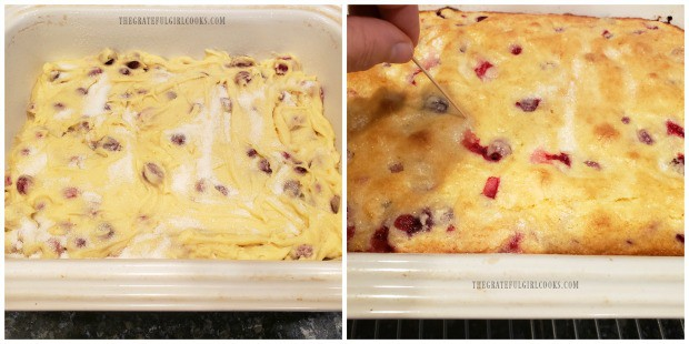 Cake in pan, before baking and after baking.