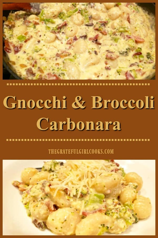 Gnocchi and Broccoli Carbonara is a delicious Italian dish, featuring potato dumplings coated in a bacon, Parmesan, mushroom and garlic creamy sauce.