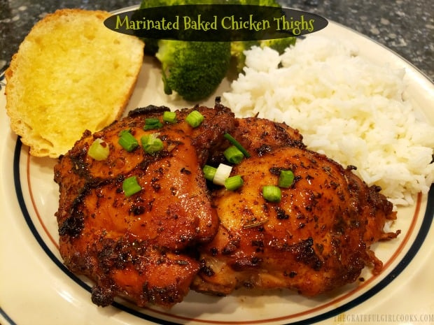 Need an easy, yummy entree? Try Marinated Baked Chicken Thighs! Chicken is dry-rubbed w/ spices, marinated in a sweet soy & garlic sauce, and baked.
