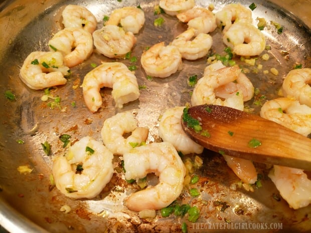 Cooking the shrimp only takes about 3-4 minutes.