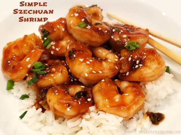 Need dinner quick? Try delicious, Simple Szechuan Shrimp! This EASY, Asian-inspired meal can be cooked and on the table in about 15 minutes total!
