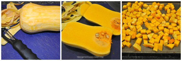A butternut squash is peeled, sliced, and cubed before roasting.