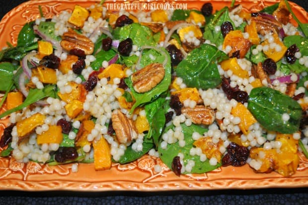 A pretty platter is the backdrop for yummy Thanksgiving salad.