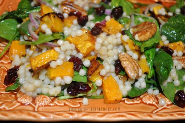 This is a closeup photo of the pretty Thanksgiving salad, ready for serving.