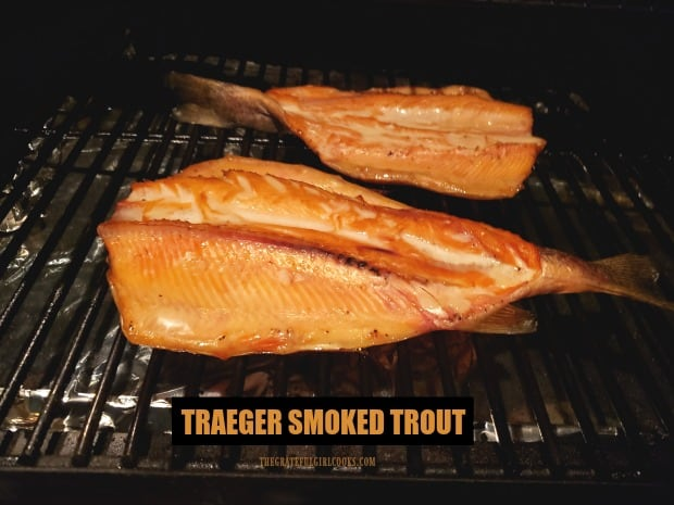 Traeger Grill Smoked Trout is a great recipe for cooking smoked, fresh trout! Butterflied trout are soaked in a brine before smoking, for peak flavor!