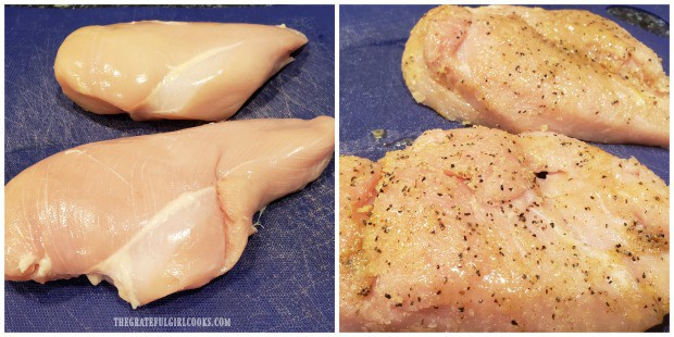 Seasoning sauce is brushed over one side of the chicken breasts.