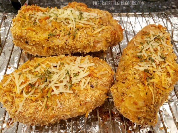 The easy baked pork chops are golden brown once they finish baking.