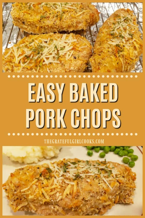 Easy Baked Pork Chops are covered with a seasoned bread crumb/Parmesan cheese mix for lots of flavor! Prep time is 10 minutes, then bake until done!