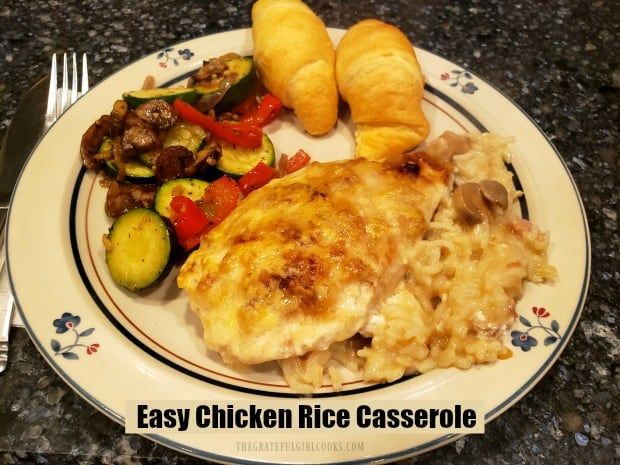 Making this easy chicken rice casserole is a cinch, with only 10 minutes prep work before baking! Rice and mushrooms cook in the same dish! YUM!