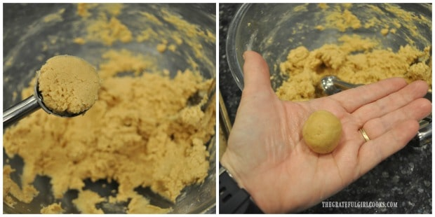"Cookie dough is rolled into 1"" balls before baking."