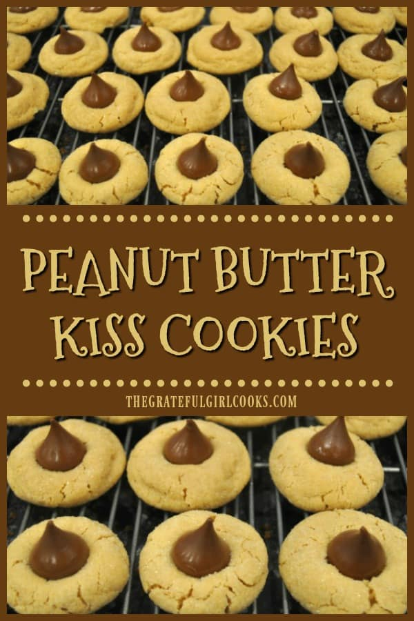 Enjoy this classic recipe for yummy peanut butter kiss cookies, a soft peanut butter cookie with a milk chocolate kiss on top! Recipe makes 4 dozen.
