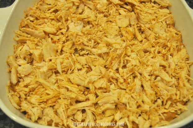 Seasoned shredded turkey is placed on top of refried bean mixture in casserole dish.