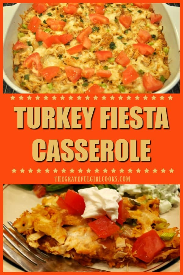 Turkey Fiesta Casserole is a great way to use up cooked turkey. This easy Mexican-style dish has turkey, corn chips, refried beans, cheese & salsa!