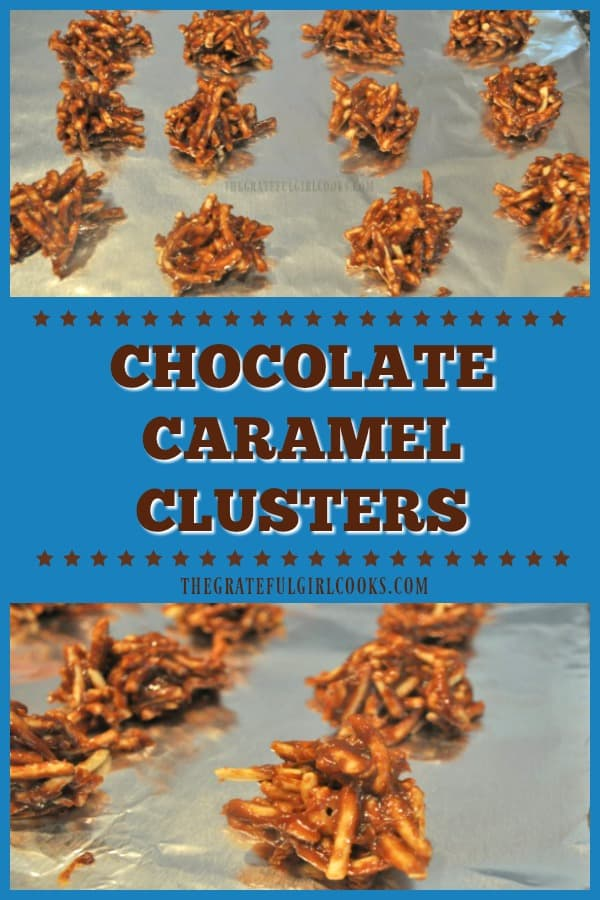 Five ingredients are all you need to quickly make yummy Caramel Chocolate Clusters, with chow mein noodles, peanut butter, chocolate chips & caramels!