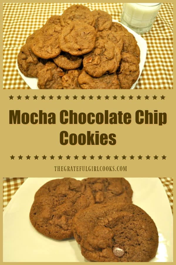 Make 4 dozen Mocha Chocolate Chip Cookies in no time at all! These delicious treats are easy to make, chewy, and have a hint of coffee liqueur flavor!