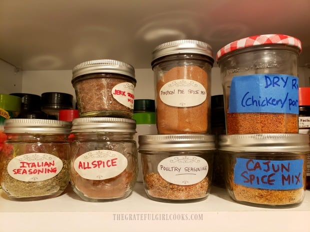 A few of the other homemade spice mixes in my pantry.