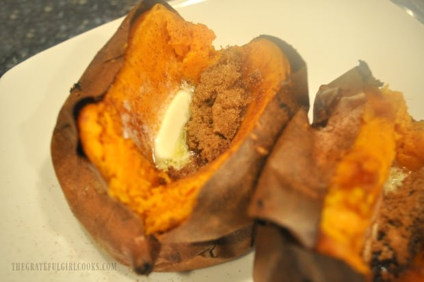 Mix the butter, brown sugar and cinnamon into the sweet potato and serve.