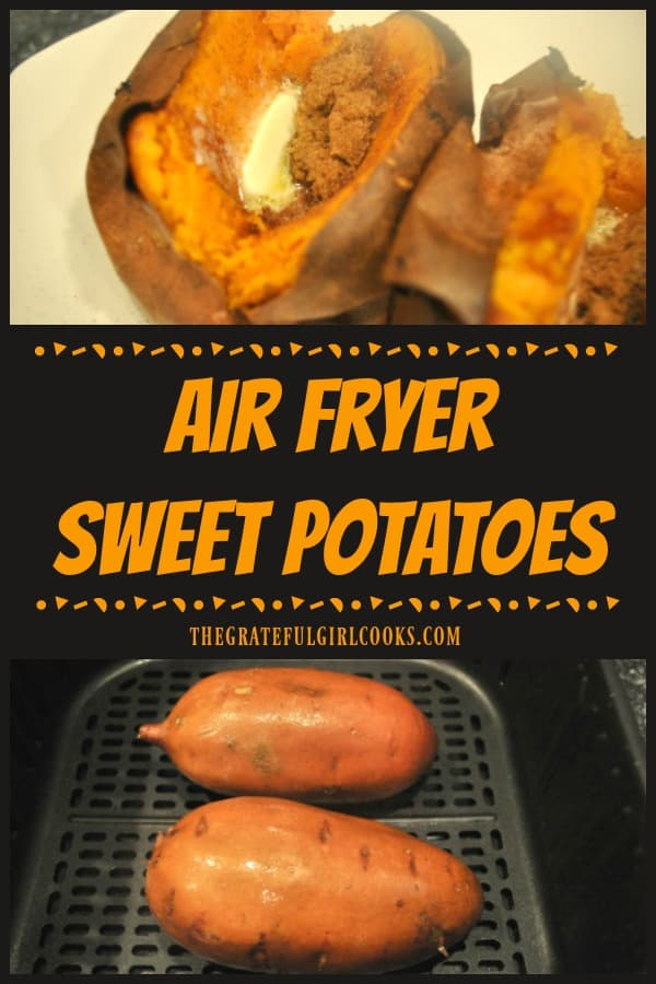 It's EASY to make absolutely delicious air fryer sweet potatoes! Topped with cinnamon, brown sugar, and butter, this filling veggie tastes amazing!