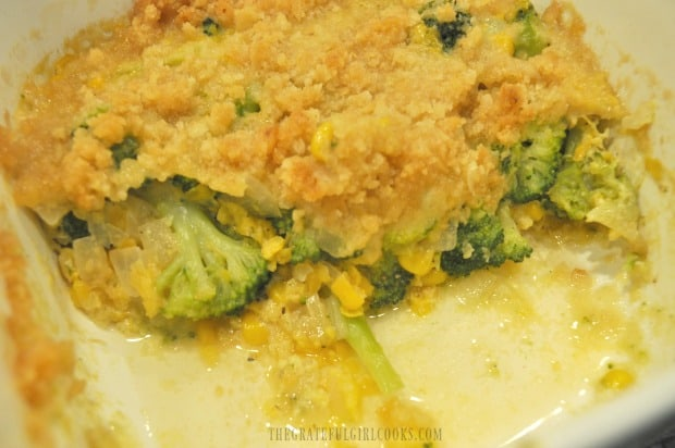 A peek at the insides of the broccoli corn casserole.