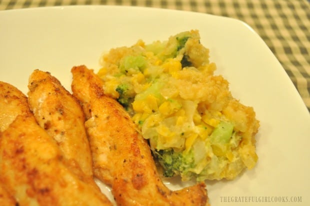 Chicken strips are served with the broccoli corn casserole.