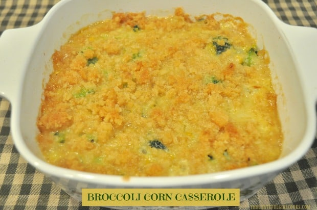 Broccoli Corn Casserole is a delicious, easy to prepare, baked veggie side dish, with corn, broccoli, onions, spices, and a buttery crumb topping!