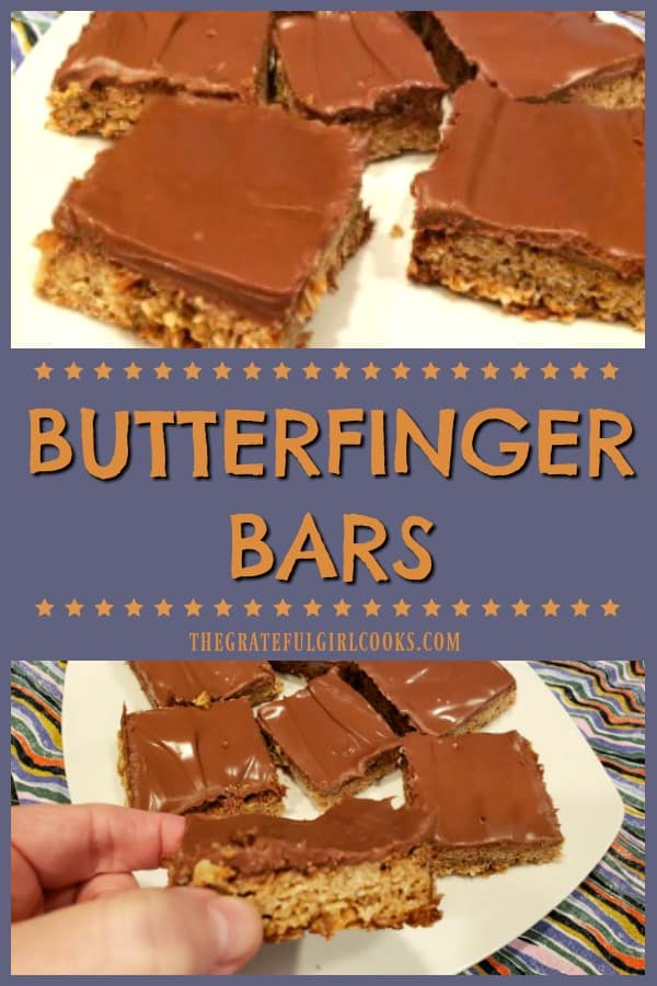 Butterfinger Bars are incredible tasting, crisp, buttery oat bars, topped with a creamy milk chocolate/peanut butter icing. This easy recipe makes 24!