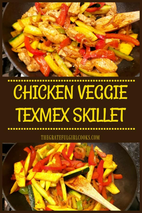 Southwest flavors shine in this deliciously seasoned, low-calorie Chicken Veggie TexMex Skillet, with zucchini, onion, yellow squash, & bell peppers!