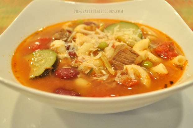 Beef, veggies macaroni, tomatoes and beans are featured in hearty minestrone soup.