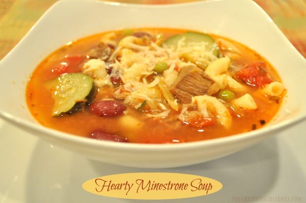 Hearty Minestrone Soup is filling and DELICIOUS! This classic Italian soup, with meat, veggies, tomatoes, beans, and macaroni is sure to please.