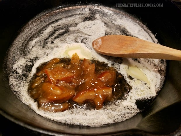 Orange marmalade and melted butter are combined in skillet.