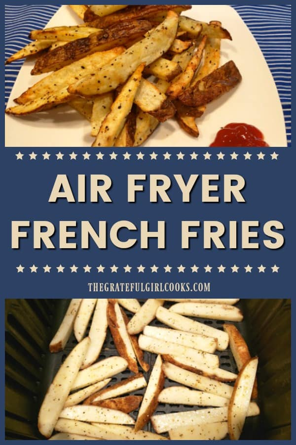 Grab 2 russet potatoes and your air fryer, and get ready to make some delicious, crispy air fryer french fries to munch on with your favorite meal!