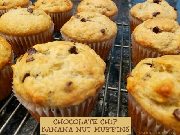 Make 12 delicious chocolate chip banana nut muffins in almost no time at all! These EASY to make muffins are perfect for breakfast or a mid-day snack!