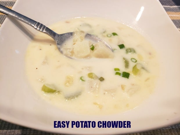 Make four servings of yummy, filling, easy potato chowder in about 30 minutes, from start to finish, using a few simple and common ingredients!