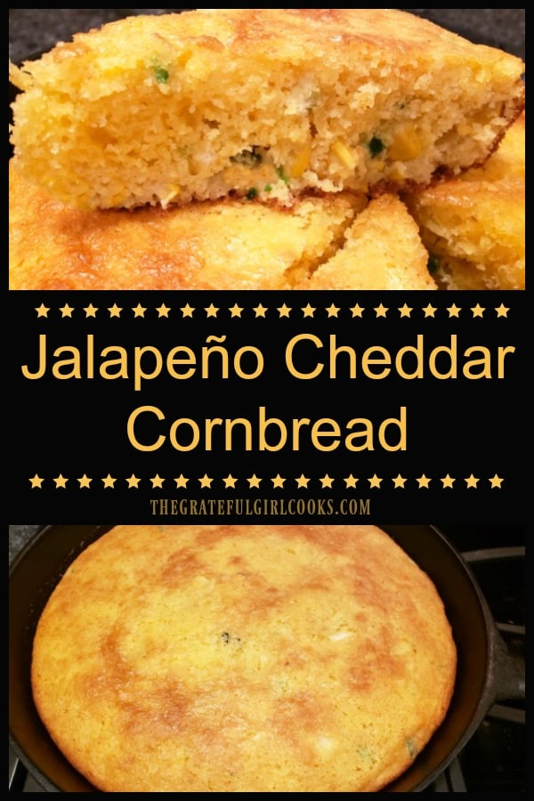 Jalapeño Cheddar Cornbread, (with corn kernels, sliced jalapeños, onions and grated cheddar cheese), is an EASY to make, flavorful side dish for 8!