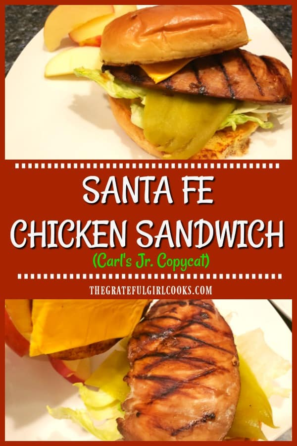 Enjoy a tasty copycat Carl's Jr. Santa Fe Chicken Sandwich. Marinated chicken, cheese, Southwest sauce, green chile & lettuce on a toasted bun. YUM!