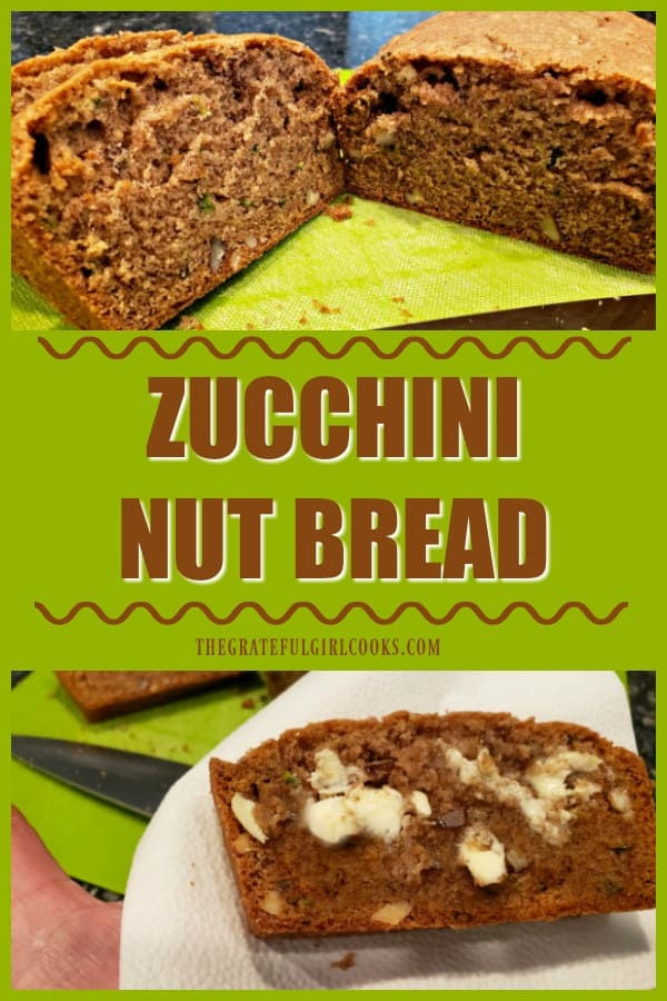 This simple recipe for zucchini nut bread yields two standard-sized loaves. The bread is EASY to make (honest!), and tastes absolutely delicious!