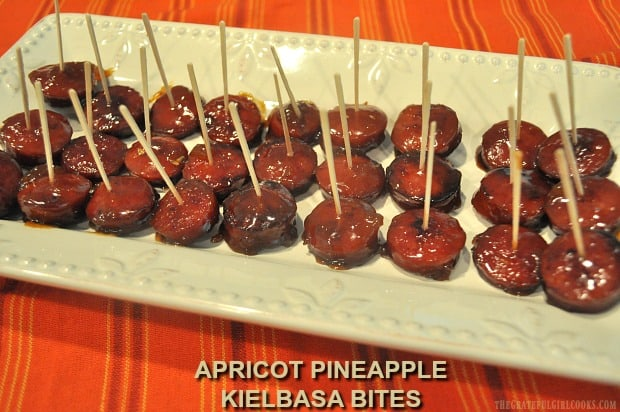 Apricot Pineapple Kielbasa Bites are delicious, easily made appetizers to serve family or friends. A sweet fruit glaze coats each bite to perfection.