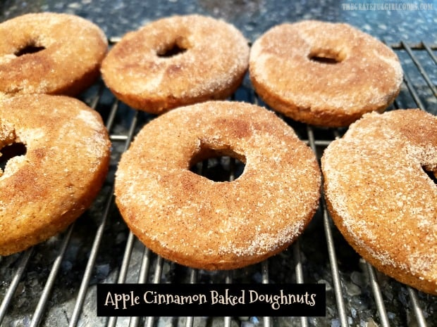 Make 18 delicious apple cinnamon baked doughnuts topped with cinnamon sugar. An easy to make treat for breakfast or snacks for family or friends.