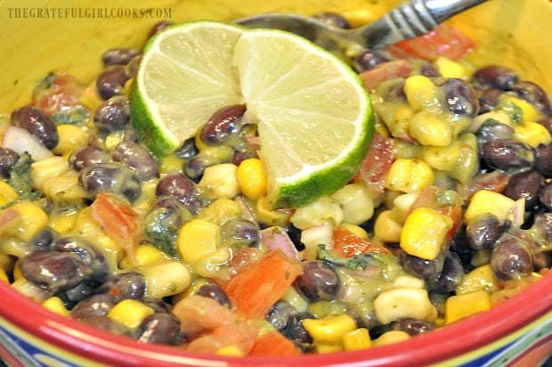 The avocado salad dressing is mixed into a Southwestern black bean and corn salad.