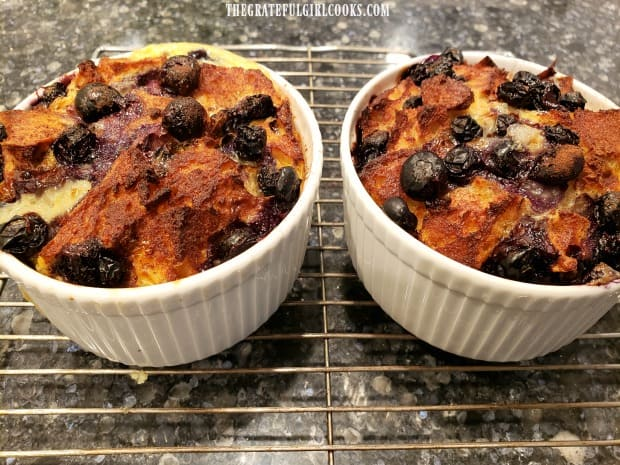 Blueberry french toast cups are lightly browned after cooking in an air fryer.