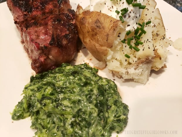 The easy creamed spinach served as a side dish for steak and baked potato.