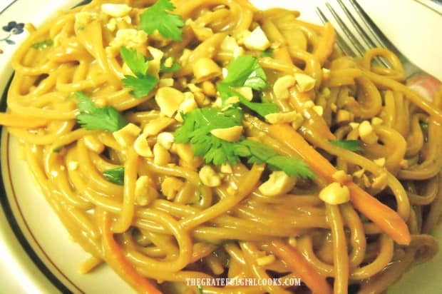 Thai peanut sauce tastes wonderful, when mixed into cooked pasta.