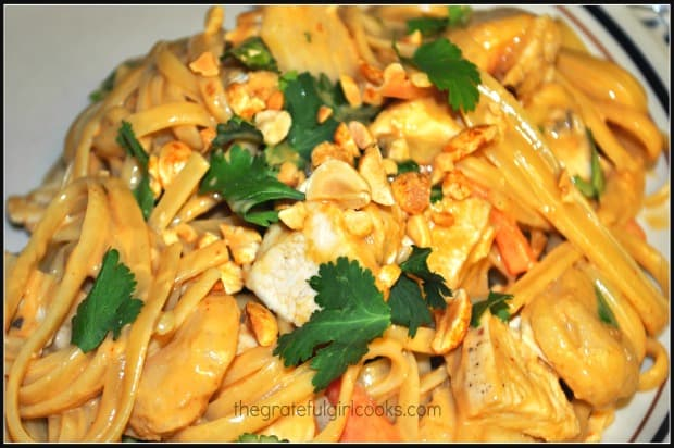 Thai chicken linguini is enhanced by a delicious peanut sauce.
