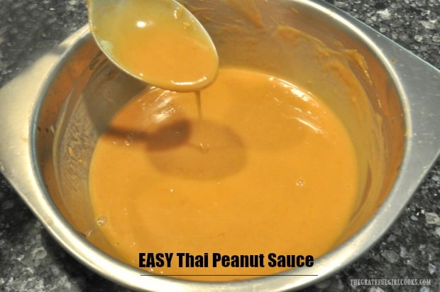 Make EASY Thai peanut sauce in under 5 minutes! This is a perfect sauce to add to cooked pasta, noodles or quinoa for delicious Thai-inspired flavor!