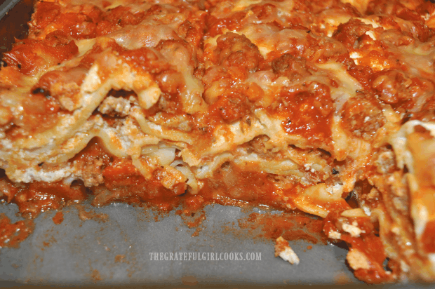 You can see layers of meat and cheese in JB's homemade lasagna after slicing.
