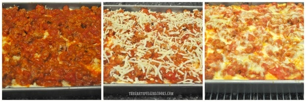 Final layer is sauce, then mozzarella cheese to top, and then lasagna is baked.